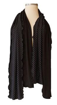 Viskose Schal Schwarz mit weißen Pünktchen oder Uni Schwarz