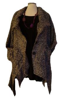 Mantel Jacke Bouclé Schwarz Grau Melange