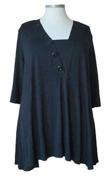Business Shirt SunShine A-Linie 3/4 Arm Schwarz mit Knöpfe