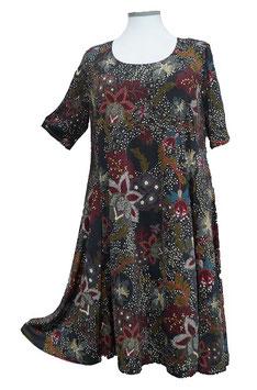 SunShine Kleid in 6-Bahnen A-Linie Schwarz mit mehrfarbigem Muster (MD-KL-672)