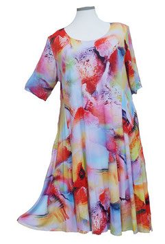 SunShine Kleid in 6-Bahnen A-Linie Big-Happy-Colors Orange-Rot-Violet-Blau (MD-KL-610)