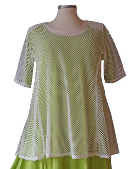 SunShine Shirt in A-Linie aus Netz Weiß (T08)-(MD-570)