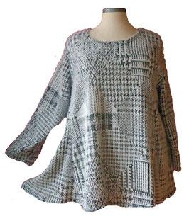 Flauschiger Pullover Grau Weiß (07)