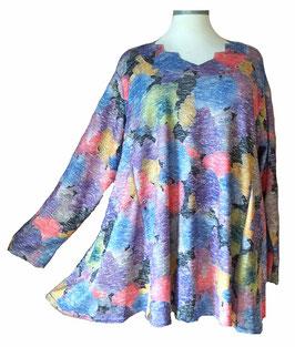 Schillernder Pullover mit Zackenausschnitt Ginko-Leaves-Light-ColorArt-Design Black (L57)