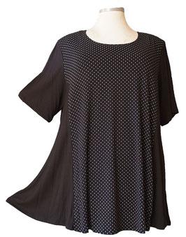 SunShine Kurzarm T-Shirt in A-Linie - Vorderteil mit Pünktchen Schwarz-Weiß