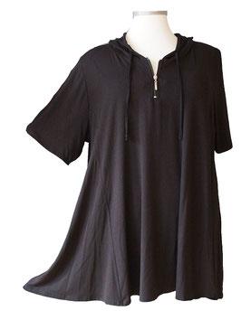 SunShine Shirt mit Kapuze in A-Linie Uni Schwarz (KP-161)