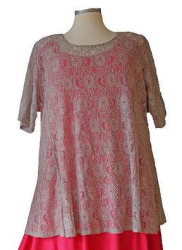 T-Shirt  A-Linie * Flower Spitze *  ( Grau ) T16
