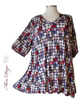 SunShine Shirt in A-Linie mit V-Ausschnitt Würfel Grafik (V-Vis-0320-14)