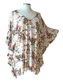 ButterflyCut Shirt Grauweiß Bluebird-Garden (BC-767)