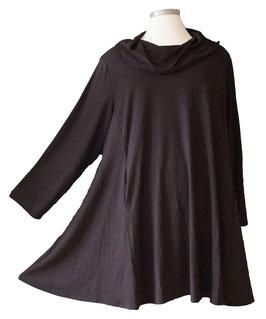 Langarm Shirt Tunika mit Schalkragen und Taschen Viskose Schwarz