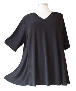 SunShine T-Shirt in A-Linie mit V-Ausschnitt Viskose Schwarz (UC-154-12)