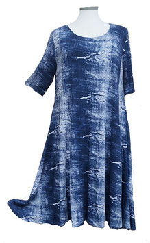 SunShine Kleid in 6-Bahnen A-Linie Jeans-Art-Designs Blue & White (MD-KL-615)