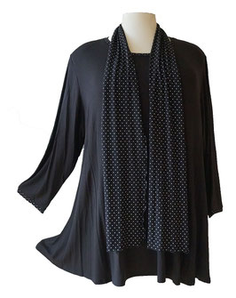 Langarmshirt in A-Linie - Bündchen und Ausschnitt Black & White Points