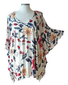ButterflyCut Shirt Grauweiß mit großem Blumenmuster (BC-768)