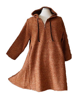 Bouclé Pullover in A-Linie mit Kapuze Terracotta