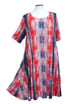 SunShine Kleid in 6-Bahnen A-Linie Duo-Color Red & Blue mit weißem Aufdruck (MD-KL-667)