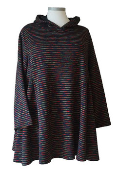 Pullover in A-Linie mit Kapuze Schwarz mit bunten Streifen (BRPKP-018)-(P-KP-409)