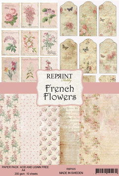 Reprint-French Flowers Collection-A4 Paper Pad
