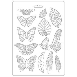 Stamperia-Soft Maxi Mould/Amazonia-Leaves & Butterflies A4-K3PTA489