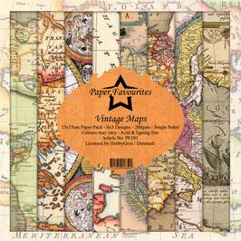 """Paper Favourites-Vintage Maps 6x6"""""""