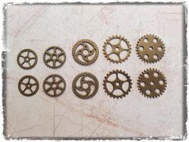 Vintage Metall Charms-bronce/Zahnrad