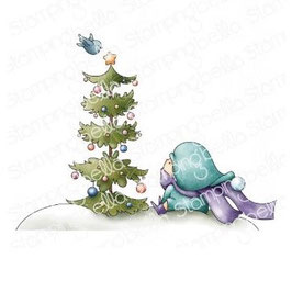 Stamping Bella-Cling Stamp/Bundle Girl W/Christmas Tree And Birdie