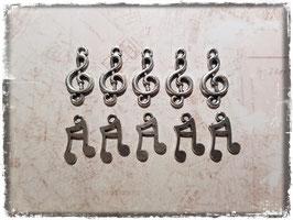 Metall Charms-Musik Noten Silber-211