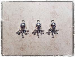 Metall Charms-Tintenfisch Silber-256