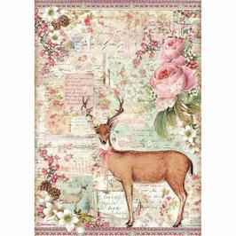 Stamperia Reispapier A4-Pink Christmas DFSA4474
