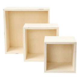 Holz Boxenset quadratisch 3 Teilig