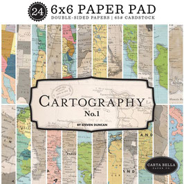 Carta Bella Paper Pad Cartography No.1-6x6""
