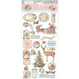 Stamperia-Chipboard Pink Christmas