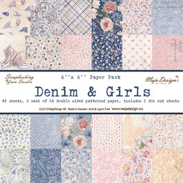 Maja Design-Paper Pad Denim & Girls 6x6""