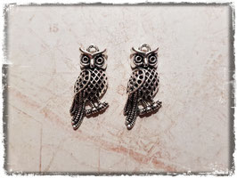 Metall Charms-Eule Silber-223-3