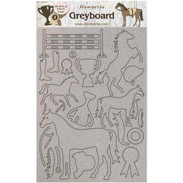 Stamperia Greyboard-Karton Stanzteile/Romantic Horses LSPDA434