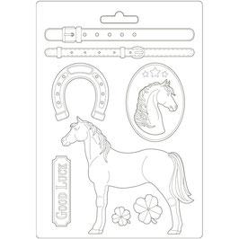 Stamperia-Soft Mould A4-Romantic Horses 3PTA4500