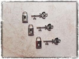 Metall Charms-Schlösser & Schlüssel Silber-243