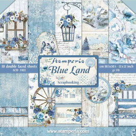 Stamperia-Paper Pad Blue Land 12x12""