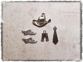 Vintage Metall Charms-silber/Cowboy