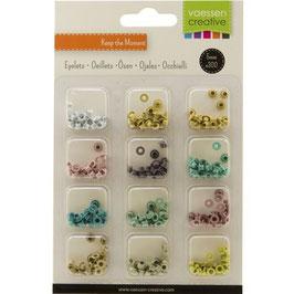 Vaessen Creative Eyelets-Ösen Kit Pastell 12 Farben