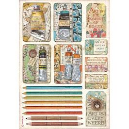 Stamperia Reispapier A4-Atelier Des Arts DFSA4550