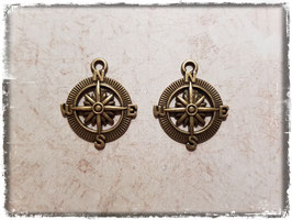 Metall Charms-Kompass Bronce-160