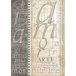 Stamperia Reispapier A4-Calligraphy DFSA4525