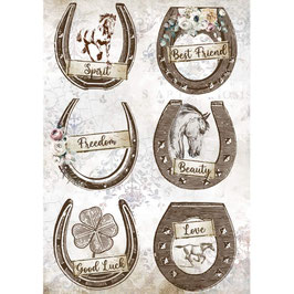 Stamperia Reispapier A4-Romantic Horses DFSA4583