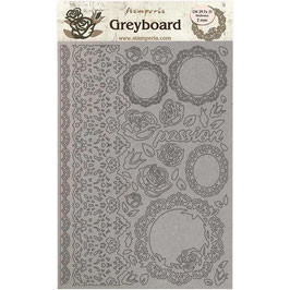 Stamperia Greyboard-Karton Stanzteile/Passion-Lace & Roses KLSPDA424