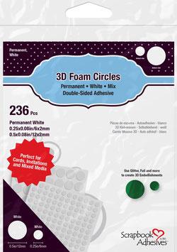 Scrapbook Adhesives-3D Foam Pads/Kreise weiss