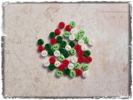 Mini Knöpfe - weiss/hellgrün/dunkelgrün/rot