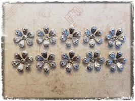 Metall Charms-Filigrane Blumen Silber-277