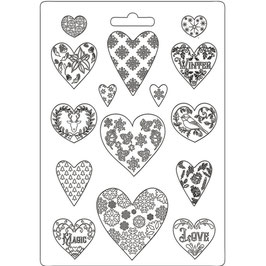 Stamperia-Soft Mould A4-Christmas Patchwork Hearts K3PTA4501
