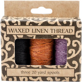 Lineco-Waxed Linen Thread/gewachster Faden-Lavendel, Orange-Gold, Schwarz